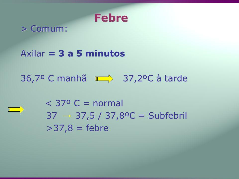 > Comum: Axilar Axilar = 3 a 5 minutos 36,7º C manhã 37,2ºC à tarde < 37º C = normal 37 37,5 / 37,8ºC = Subfebril >37,8 = febre Febre