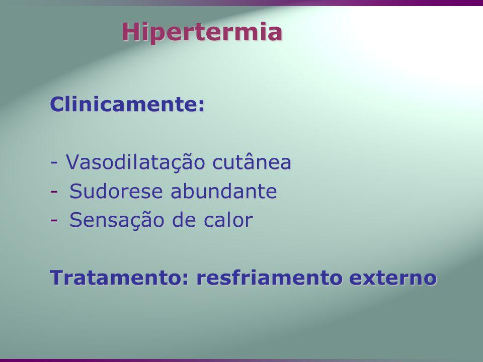 Clinicamente: - Vasodilatação cutânea -Sudorese abundante -Sensação de calor Tratamento: resfriamento externo Hipertermia