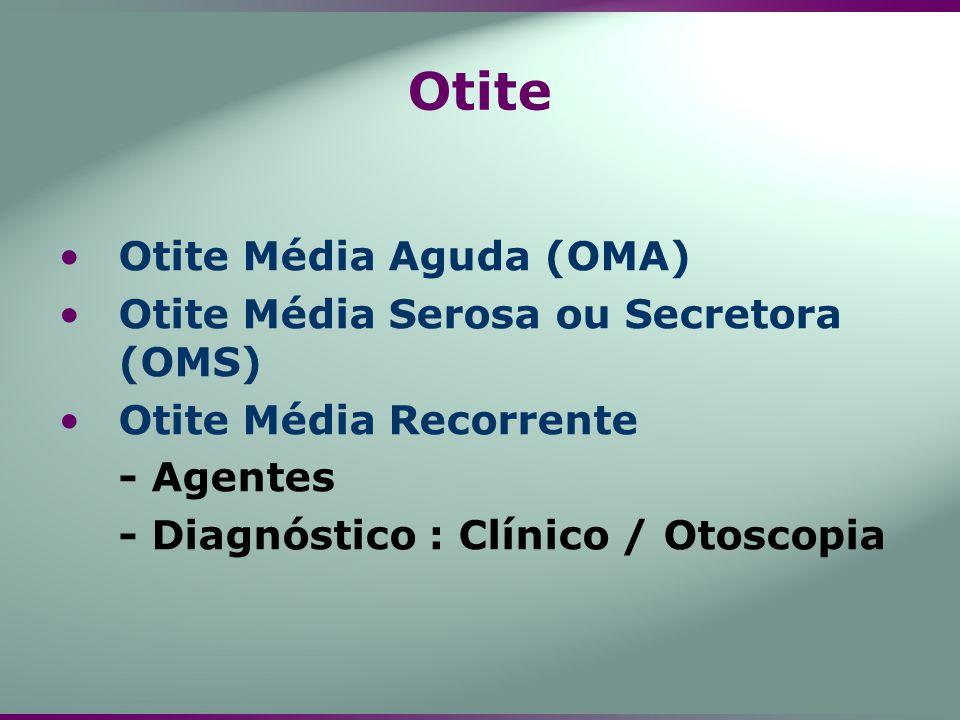 Otite Média Aguda (OMA) Otite Média Serosa ou Secretora (OMS) Otite Média Recorrente - Agentes - Diagnóstico : Clínico / Otoscopia Otite