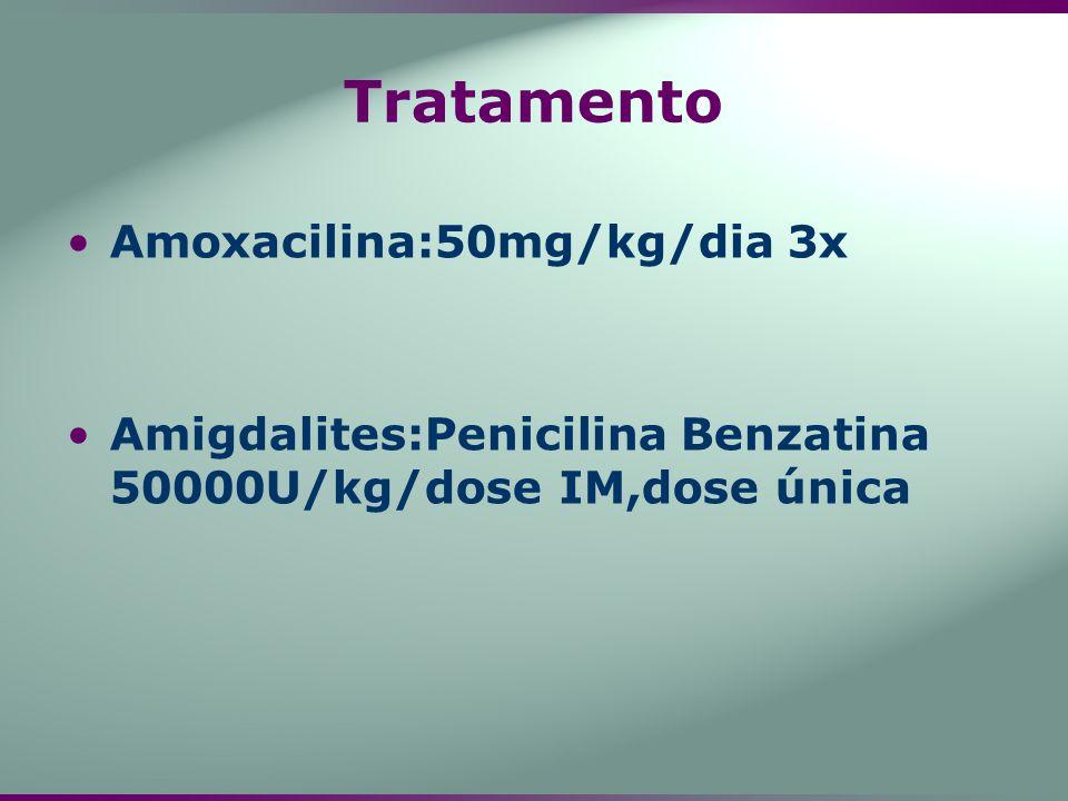 Tratamento Amoxacilina:50mg/kg/dia 3x Amigdalites:Penicilina Benzatina 50000U/kg/dose IM,dose única