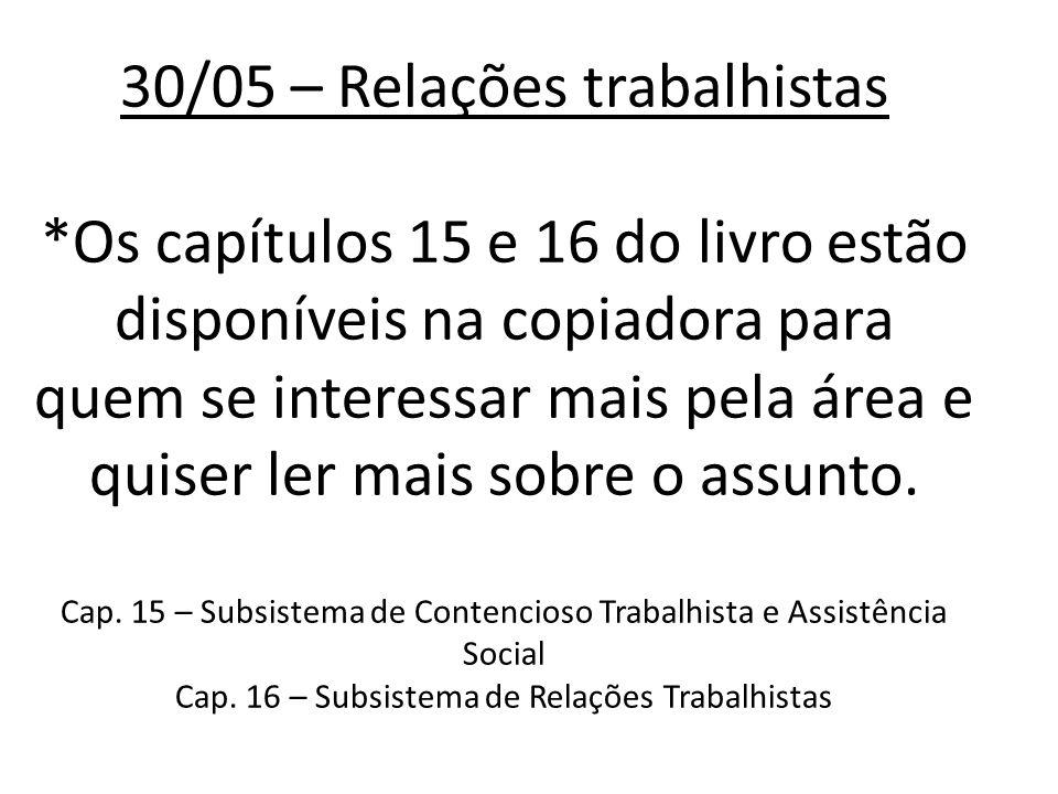 30/05 – Relações trabalhistas *Os capítulos 15 e 16 do livro estão disponíveis na copiadora para quem se interessar mais pela área e quiser ler mais sobre o assunto.