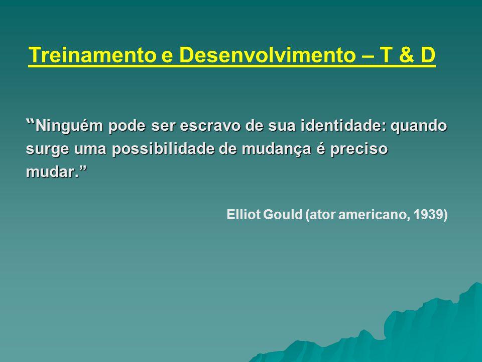 """"""" Ninguém pode ser escravo de sua identidade: quando surge uma possibilidade de mudança é preciso mudar."""" Elliot Gould (ator americano, 1939) Treiname"""
