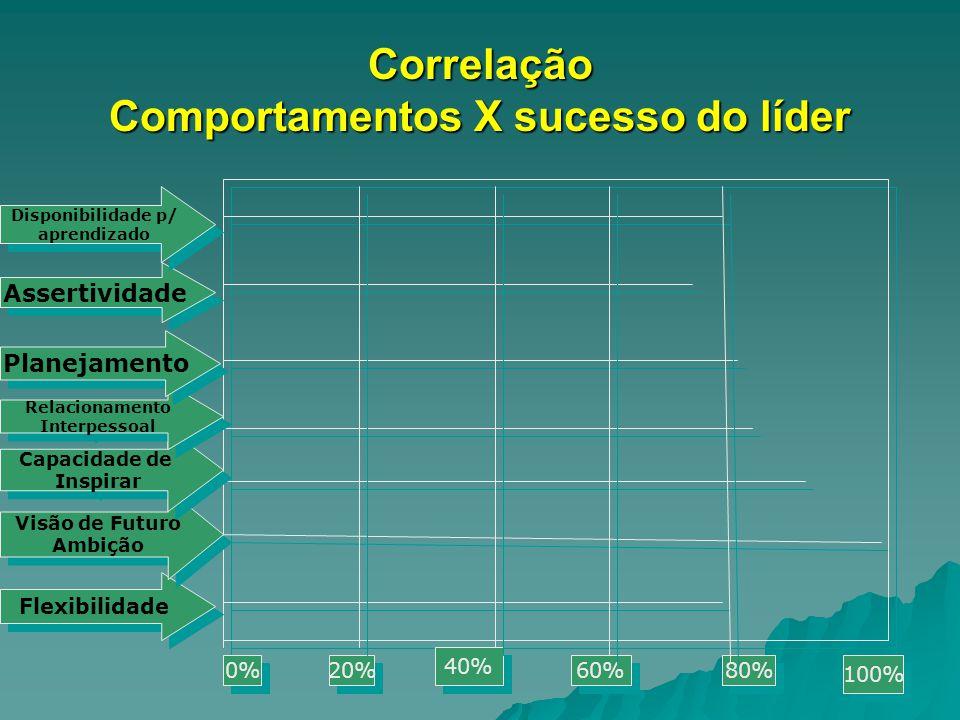 Correlação Comportamentos X sucesso do líder 0% 20% 40% 60% 80% 100% Flexibilidade Visão de Futuro Ambição Visão de Futuro Ambição Capacidade de Inspi