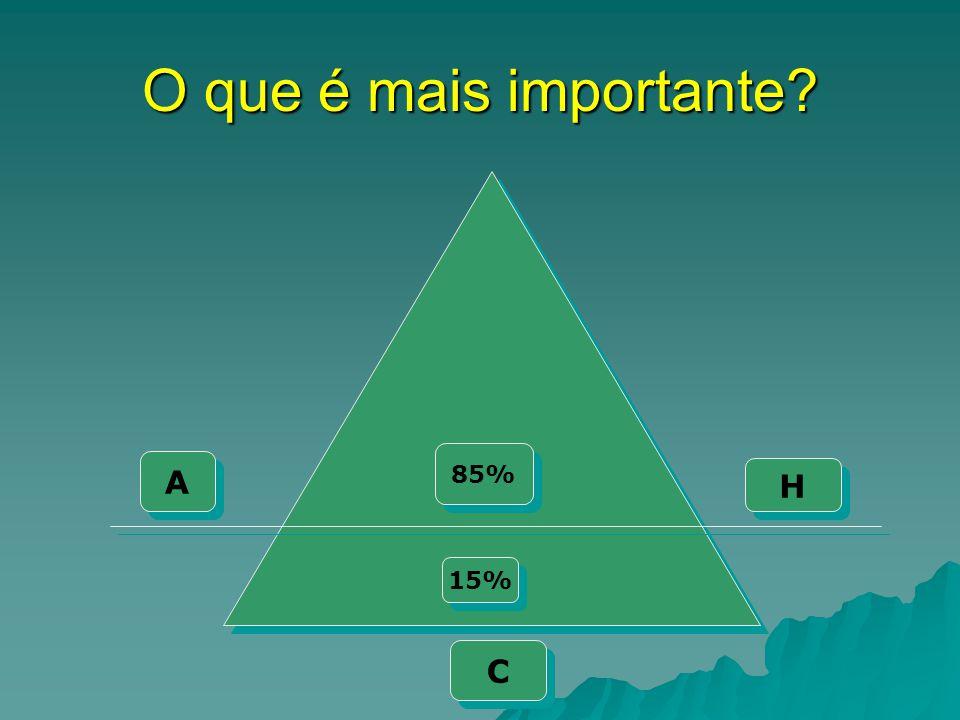 O que é mais importante? A A H H C C 85% 15%