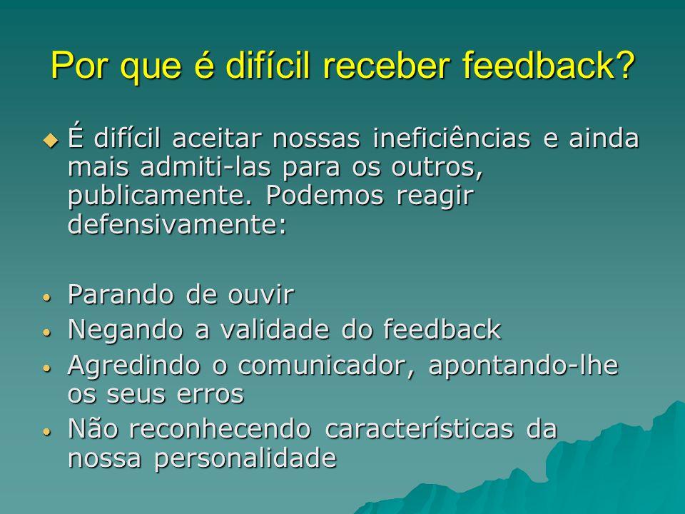 Por que é difícil receber feedback?  É difícil aceitar nossas ineficiências e ainda mais admiti-las para os outros, publicamente. Podemos reagir defe