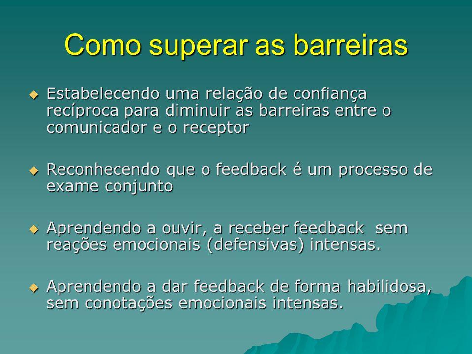Como superar as barreiras  Estabelecendo uma relação de confiança recíproca para diminuir as barreiras entre o comunicador e o receptor  Reconhecend