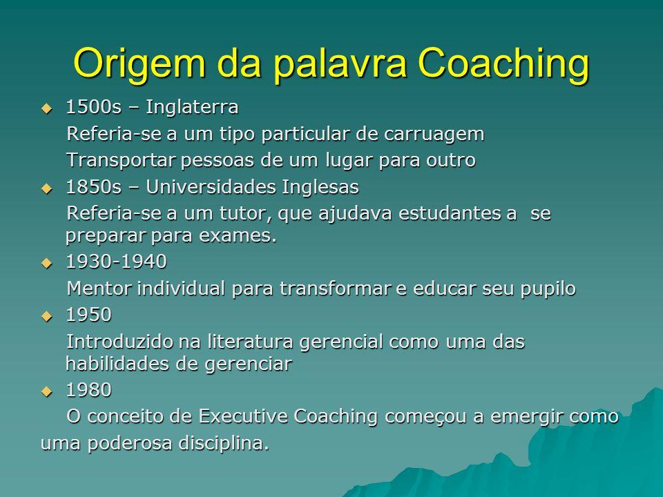 Termos básicos  Coach: a pessoa que conduz o processo (derivado do inglês, treinador esportivo) (derivado do inglês, treinador esportivo)  Coachee:a pessoa que é alvo do processo  Coaching: o processo propriamente dito.