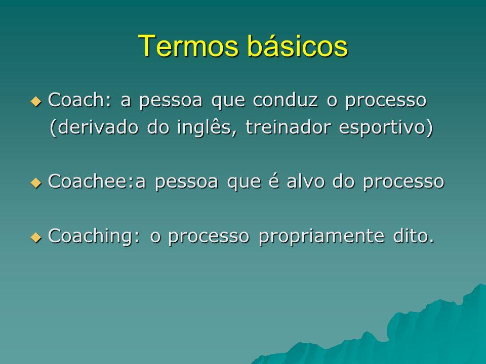 Termos básicos  Coach: a pessoa que conduz o processo (derivado do inglês, treinador esportivo) (derivado do inglês, treinador esportivo)  Coachee:a