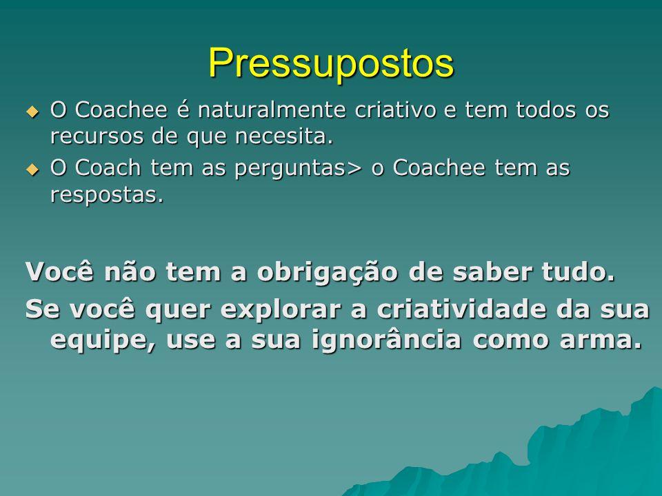 Pressupostos  O Coachee é naturalmente criativo e tem todos os recursos de que necesita.  O Coach tem as perguntas> o Coachee tem as respostas. Você