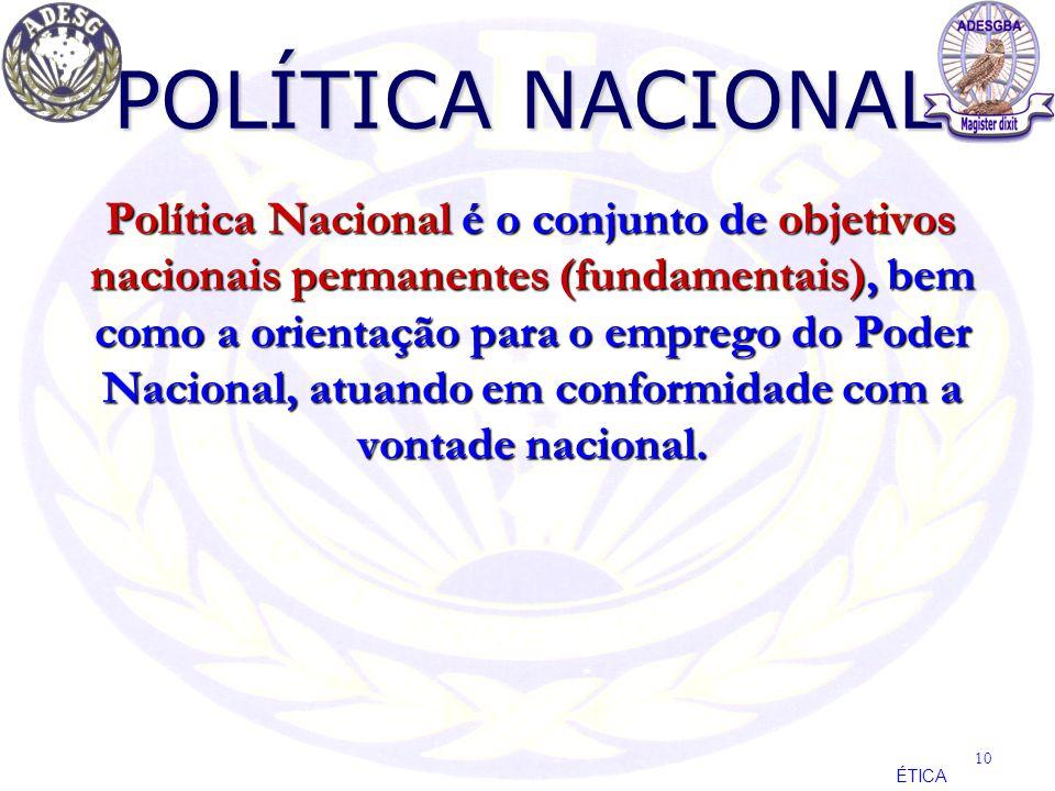 POLÍTICA NACIONAL Política Nacional é o conjunto de objetivos nacionais permanentes (fundamentais), bem como a orientação para o emprego do Poder Naci