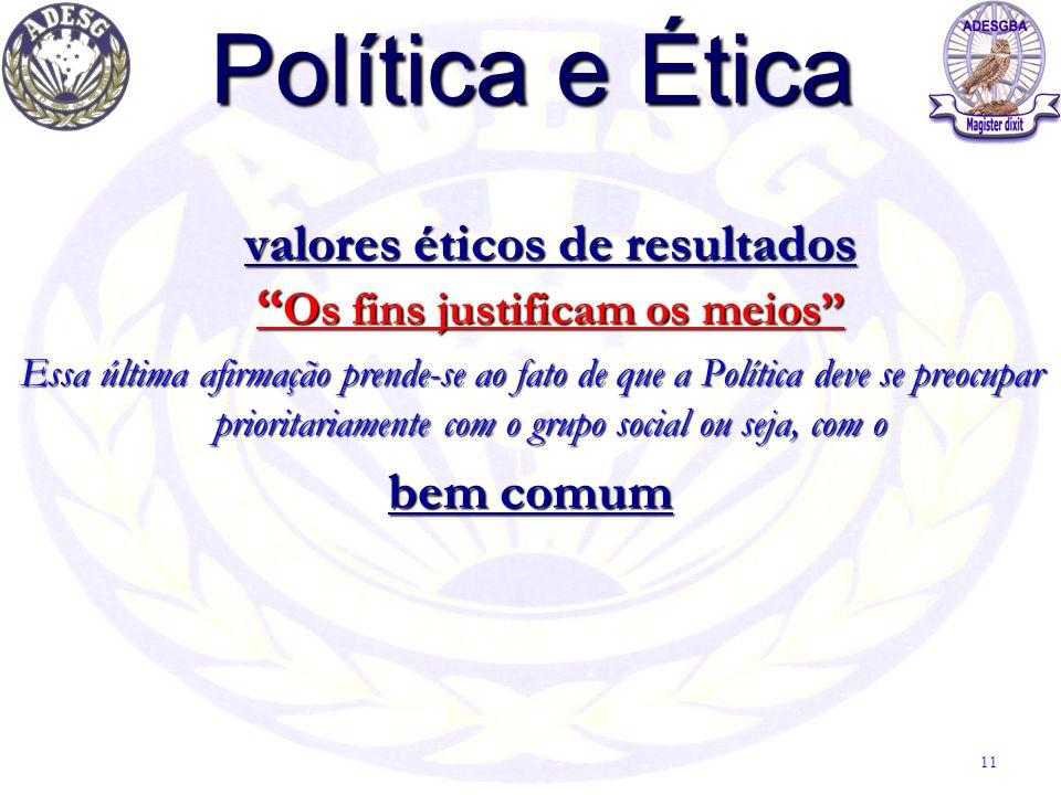 """Política e Ética valores éticos de resultados """" Os fins justificam os meios"""" Essa última afirmação prende-se ao fato de que a Política deve se preocup"""