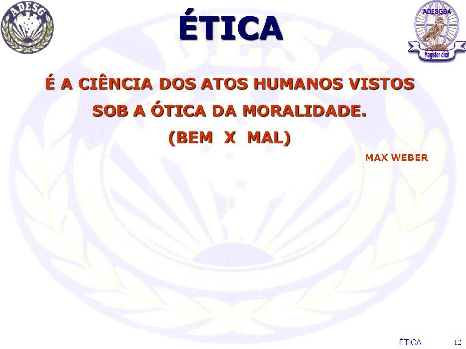 ÉTICA É A CIÊNCIA DOS ATOS HUMANOS VISTOS SOB A ÓTICA DA MORALIDADE. (BEM X MAL) MAX WEBER ÉTICA 12