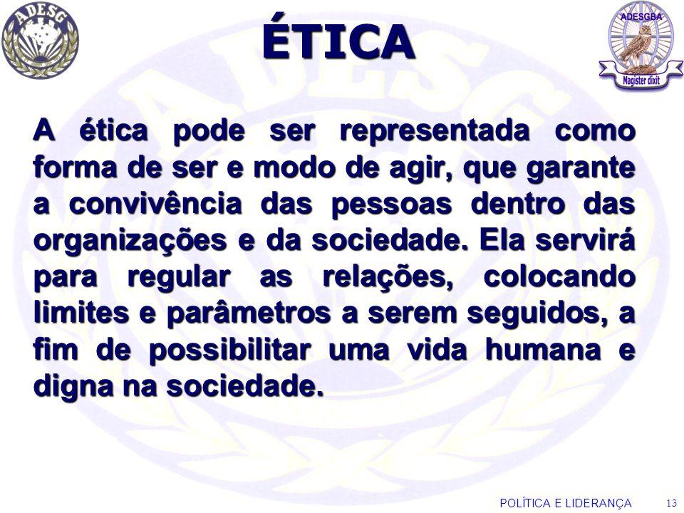 ÉTICA A ética pode ser representada como forma de ser e modo de agir, que garante a convivência das pessoas dentro das organizações e da sociedade. El