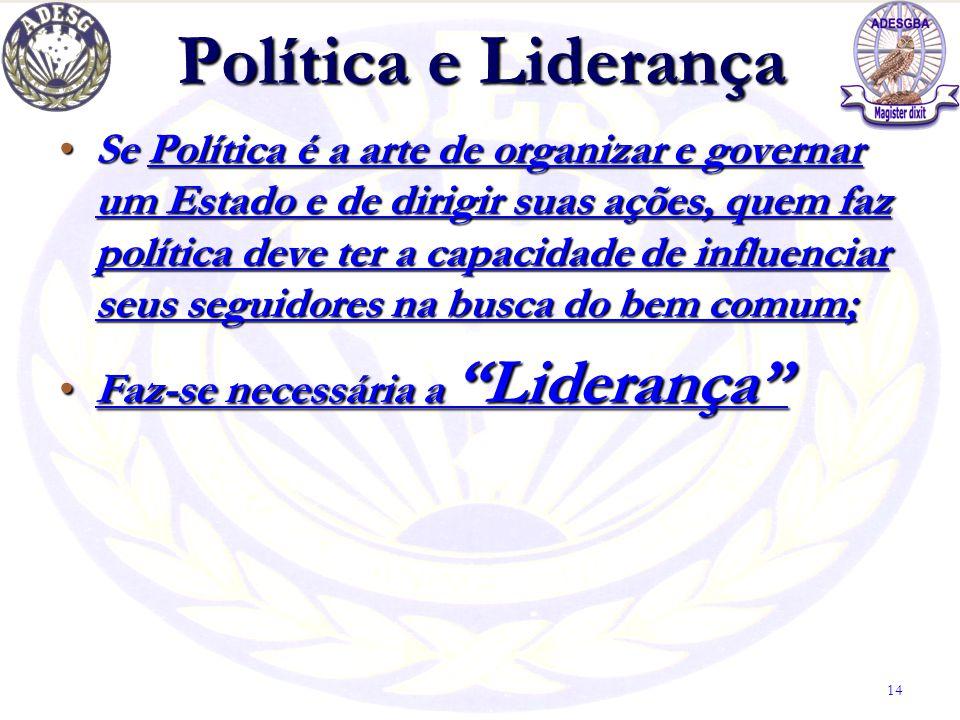 Política e Liderança Se Política é a arte de organizar e governar um Estado e de dirigir suas ações, quem faz política deve ter a capacidade de influe