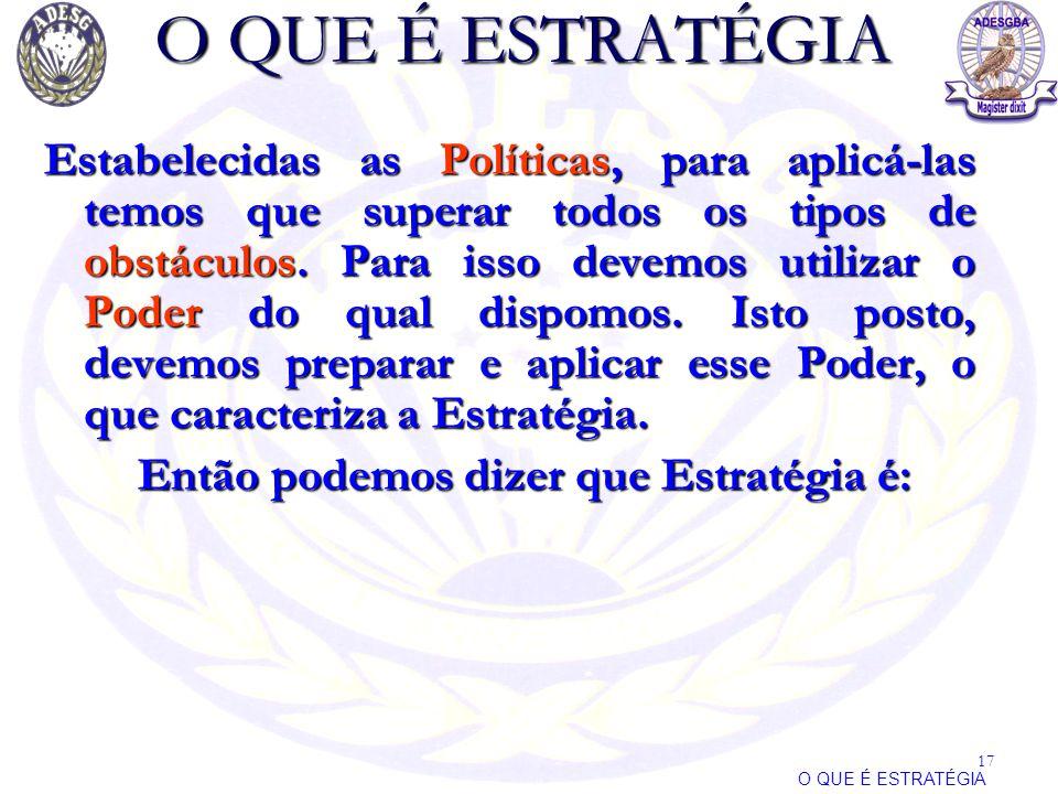 O QUE É ESTRATÉGIA Estabelecidas as Políticas, para aplicá-las temos que superar todos os tipos de obstáculos. Para isso devemos utilizar o Poder do q