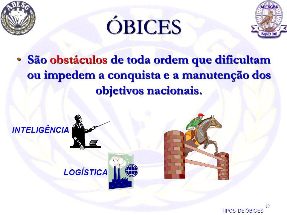 ÓBICES São obstáculos de toda ordem que dificultam ou impedem a conquista e a manutenção dos objetivos nacionais.São obstáculos de toda ordem que difi