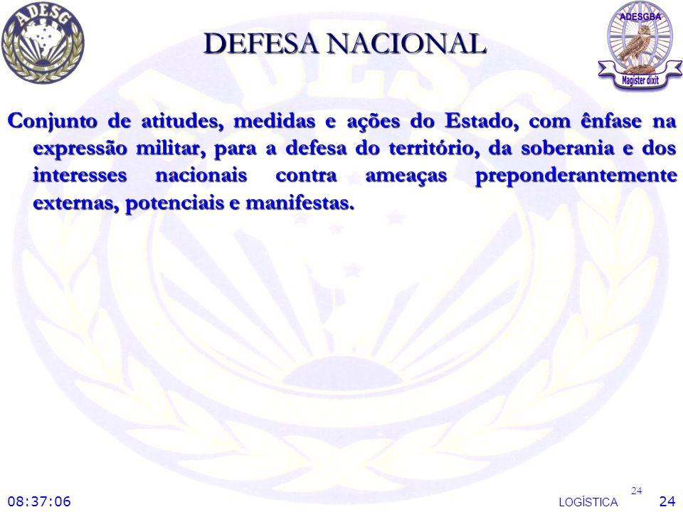DEFESA NACIONAL Conjunto de atitudes, medidas e ações do Estado, com ênfase na expressão militar, para a defesa do território, da soberania e dos inte