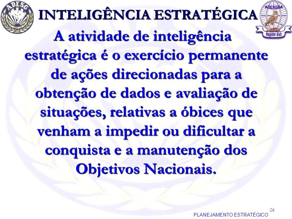 INTELIGÊNCIA ESTRATÉGICA A atividade de inteligência estratégica é o exercício permanente de ações direcionadas para a obtenção de dados e avaliação d