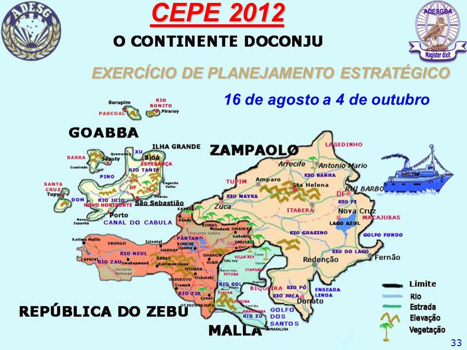 CEPE 2012 EXERCÍCIO DE PLANEJAMENTO ESTRATÉGICO 33 16 de agosto a 4 de outubro