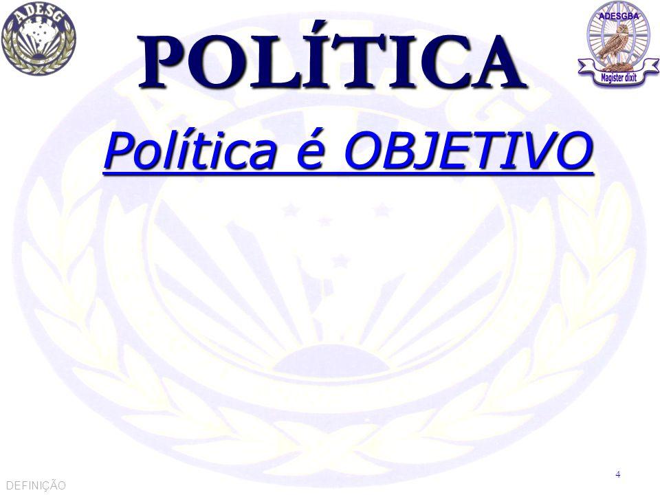 O QUE É POLÍTICA Política é a ciência que identifica e define objetivos.