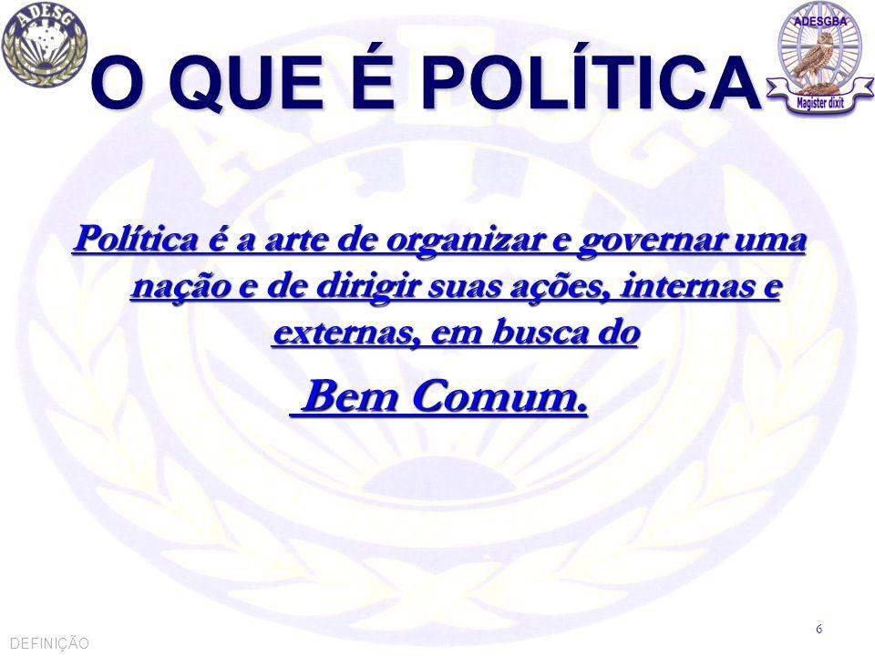 O QUE É POLÍTICA Política é a arte de organizar e governar uma nação e de dirigir suas ações, internas e externas, em busca do Bem Comum. Bem Comum. D