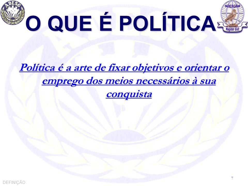 O QUE É POLÍTICA Política é decidir, respaldado no poder, a fim de buscar o Bem Comum POLÍTICA NACIONAL 8