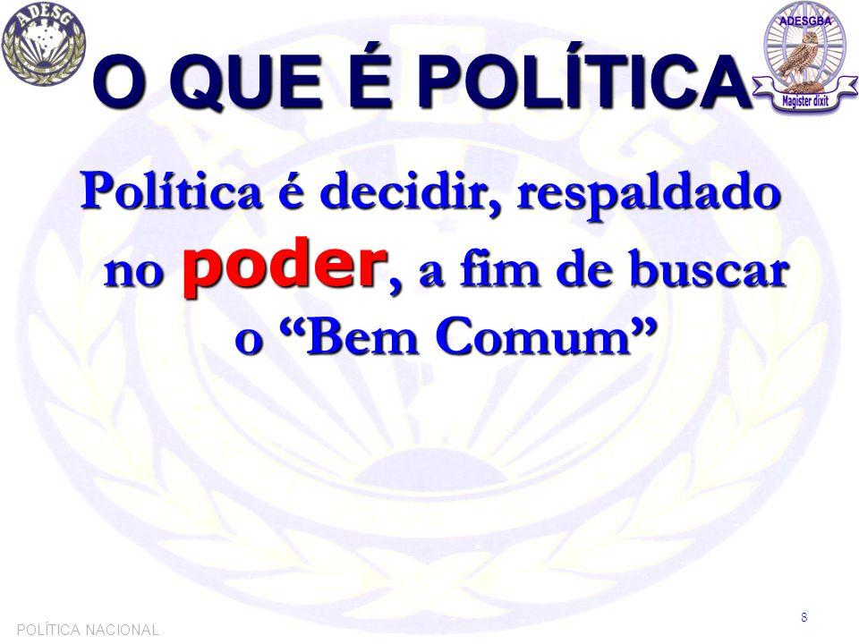 """O QUE É POLÍTICA Política é decidir, respaldado no poder, a fim de buscar o """"Bem Comum"""" POLÍTICA NACIONAL 8"""