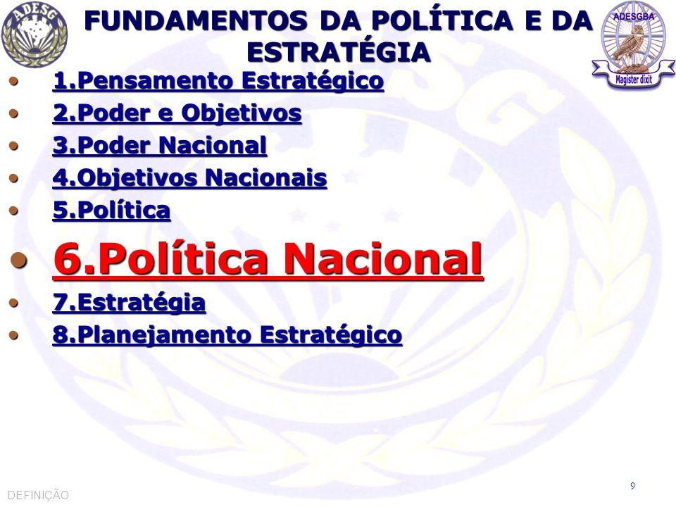 POLÍTICA NACIONAL Política Nacional é o conjunto de objetivos nacionais permanentes (fundamentais), bem como a orientação para o emprego do Poder Nacional, atuando em conformidade com a vontade nacional.