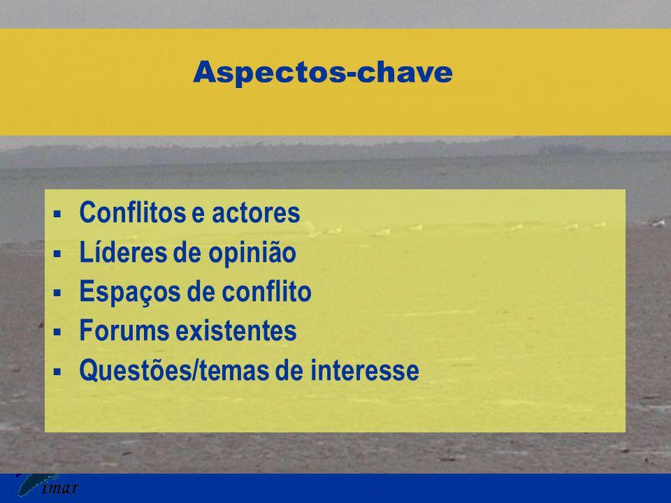 Aspectos-chave  Conflitos e actores  Líderes de opinião  Espaços de conflito  Forums existentes  Questões/temas de interesse