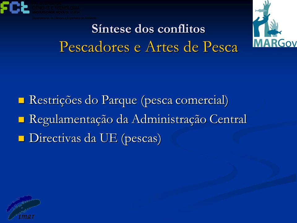 Síntese dos conflitos Pescadores e Artes de Pesca Restrições do Parque (pesca comercial) Restrições do Parque (pesca comercial) Regulamentação da Admi