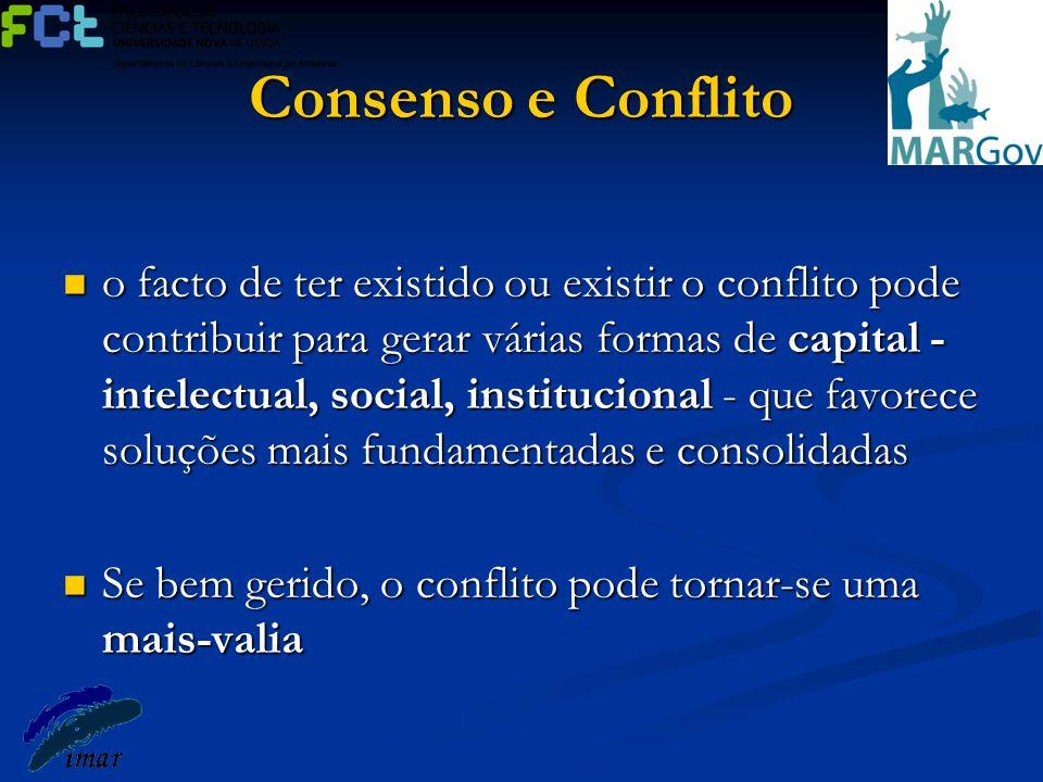 Consenso e Conflito o facto de ter existido ou existir o conflito pode contribuir para gerar várias formas de capital - intelectual, social, instituci