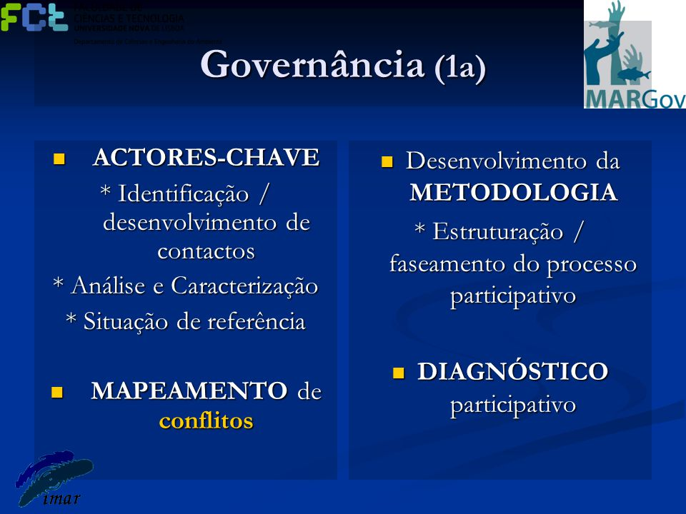 Governância (1b) Forums participativos parciais para: Forums participativos parciais para: *Definição do(s) problema(s) a abordar *Identificação em colaboração de ESTATÉGIAS a implementar *Construção de uma VISÃO conjunta Criação de PLATAFORMAS articuladoras dos forums parciais Criação de PLATAFORMAS articuladoras dos forums parciais Construção colaborativa de um MGC *Clarificação de linhas orientadoras *Acordo quanto a critérios e responsabilidade CONTRATUALIZAÇÃO do MGC pelos actores-chave envolvidos