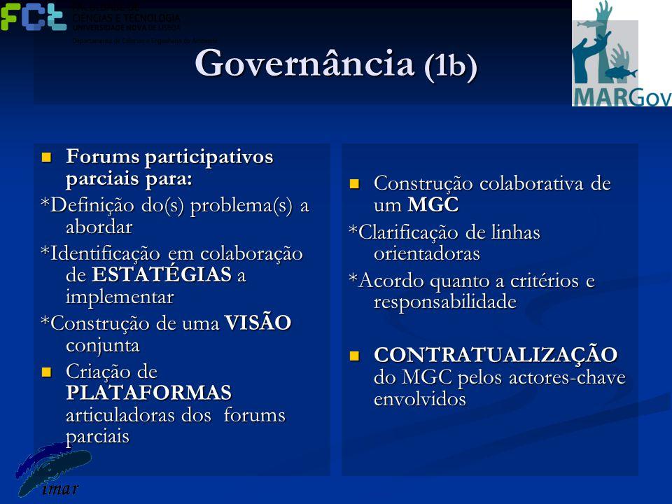 Governância (1b) Forums participativos parciais para: Forums participativos parciais para: *Definição do(s) problema(s) a abordar *Identificação em co