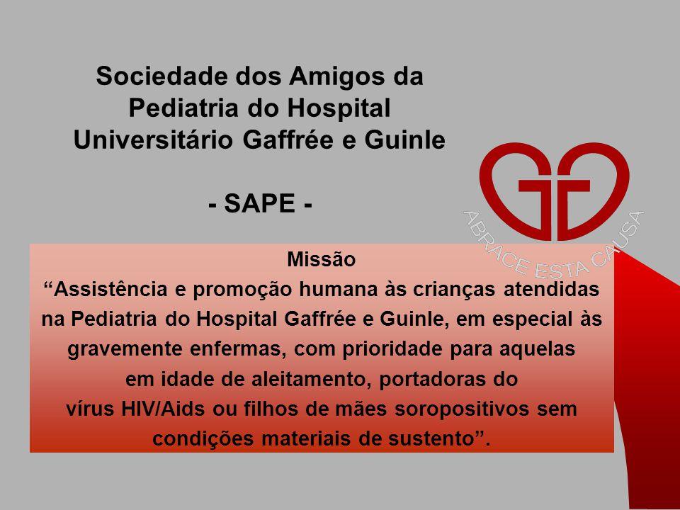 Missão Assistência e promoção humana às crianças atendidas na Pediatria do Hospital Gaffrée e Guinle, em especial às gravemente enfermas, com prioridade para aquelas em idade de aleitamento, portadoras do vírus HIV/Aids ou filhos de mães soropositivos sem condições materiais de sustento .