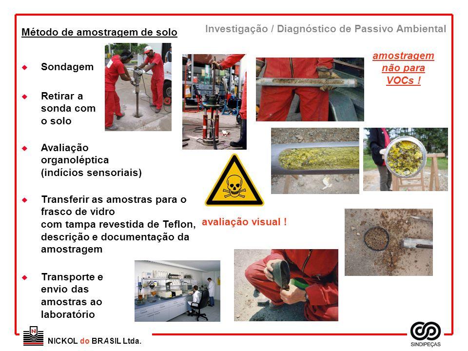 NICKOL do BRASIL Ltda. Método de amostragem de solo u Transporte e envio das amostras ao laboratório u Avaliação organoléptica (indícios sensoriais) I
