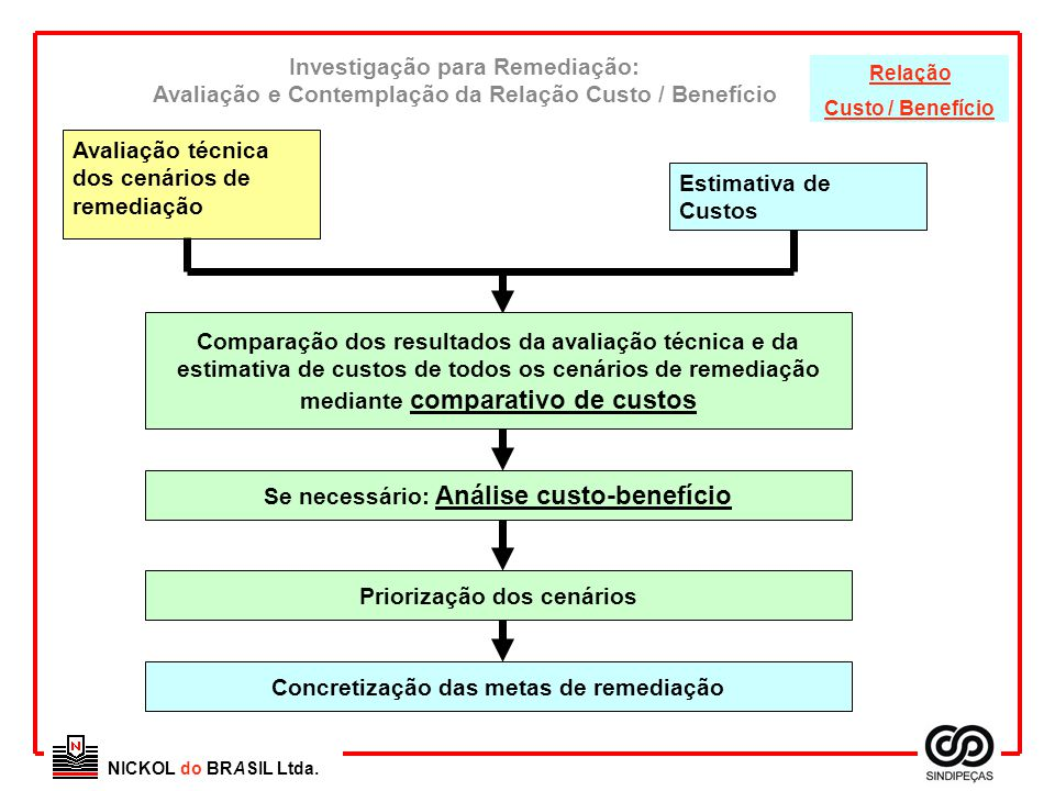NICKOL do BRASIL Ltda. Investigação para Remediação: Avaliação e Contemplação da Relação Custo / Benefício Comparação dos resultados da avaliação técn