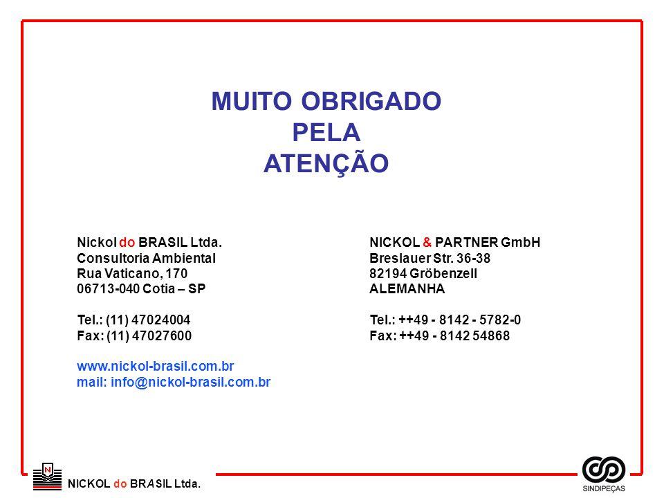 MUITO OBRIGADO PELA ATENÇÃO Nickol do BRASIL Ltda. Consultoria Ambiental Rua Vaticano, 170 06713-040 Cotia – SP Tel.: (11) 47024004 Fax: (11) 47027600