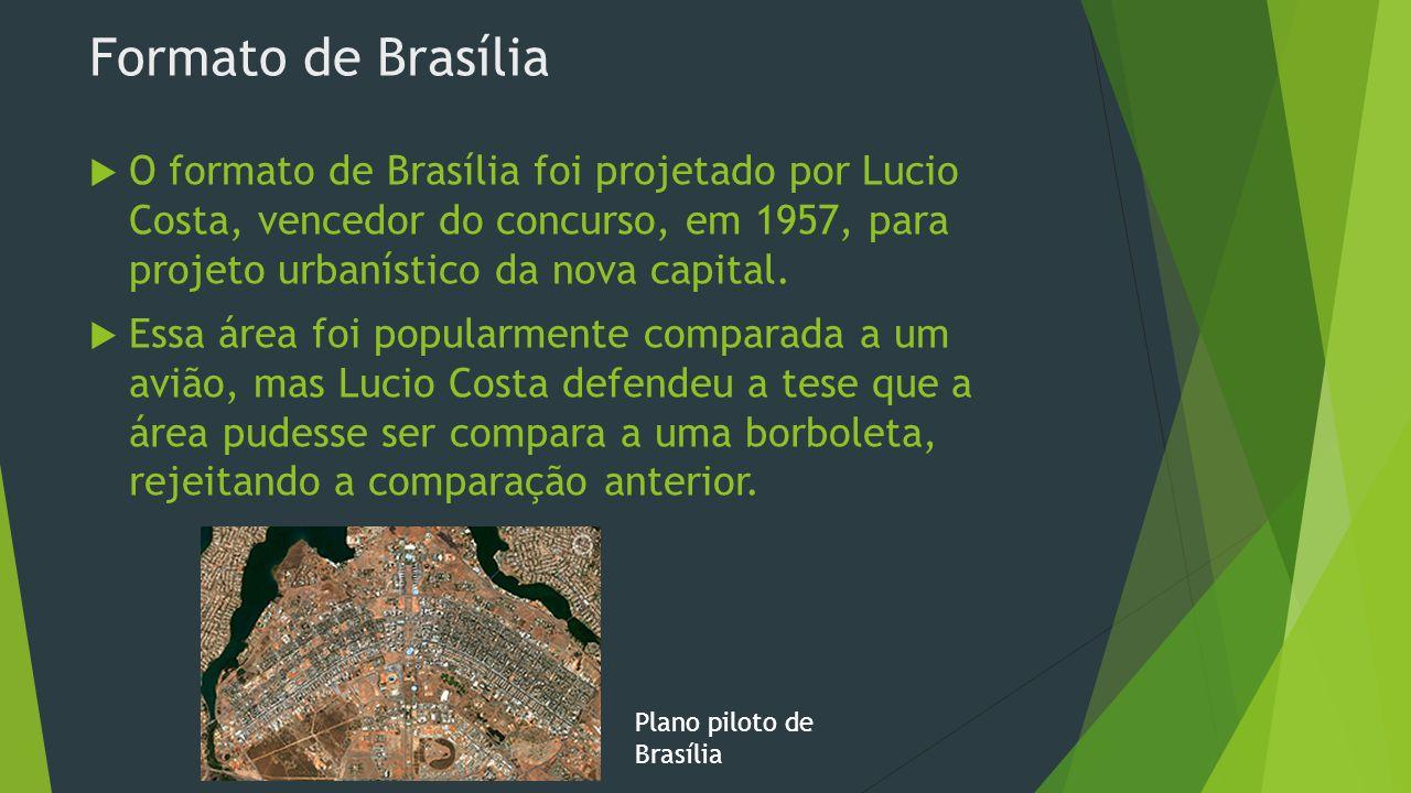 Construção e origem de Brasília  As obras começaram 11/1956, e terminaram 04/1960  Foi a nova capital do Brasil  Sai do Rio de Janeiro e vai para o interior do país  Objetivo: Povoar aquela região  Pessoas de todo o país, especialmente do nordeste (chamadas de candangos), foram contratadas para a construção da cidade  Inaugurada no dia 21 de abril de 1960 por Juscelino Kubitschek.
