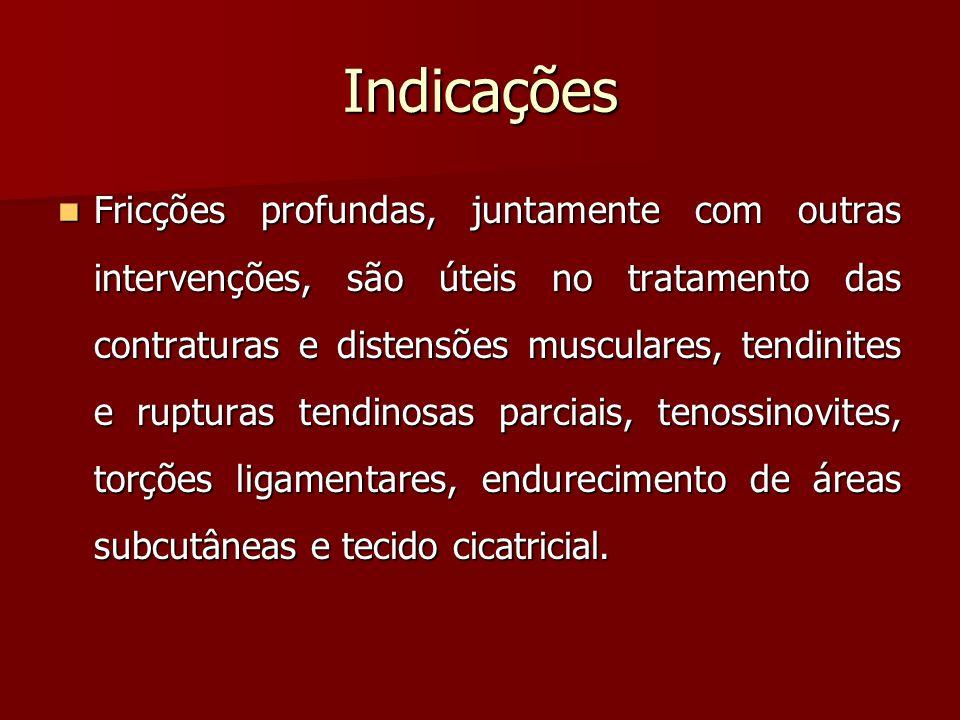 Indicações Fricções profundas, juntamente com outras intervenções, são úteis no tratamento das contraturas e distensões musculares, tendinites e ruptu