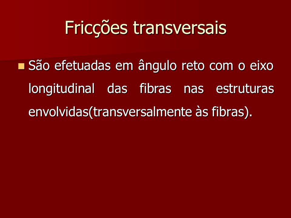 Fricções transversais São efetuadas em ângulo reto com o eixo longitudinal das fibras nas estruturas envolvidas(transversalmente às fibras). São efetu
