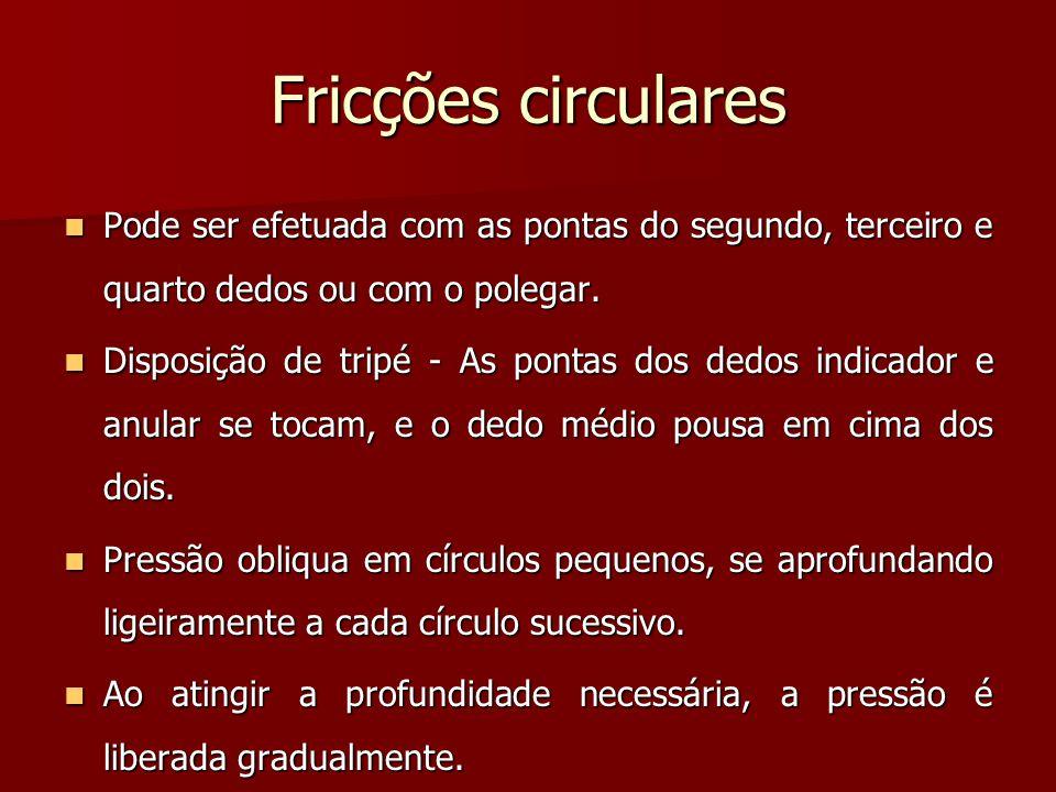 Fricções circulares Pode ser efetuada com as pontas do segundo, terceiro e quarto dedos ou com o polegar. Pode ser efetuada com as pontas do segundo,