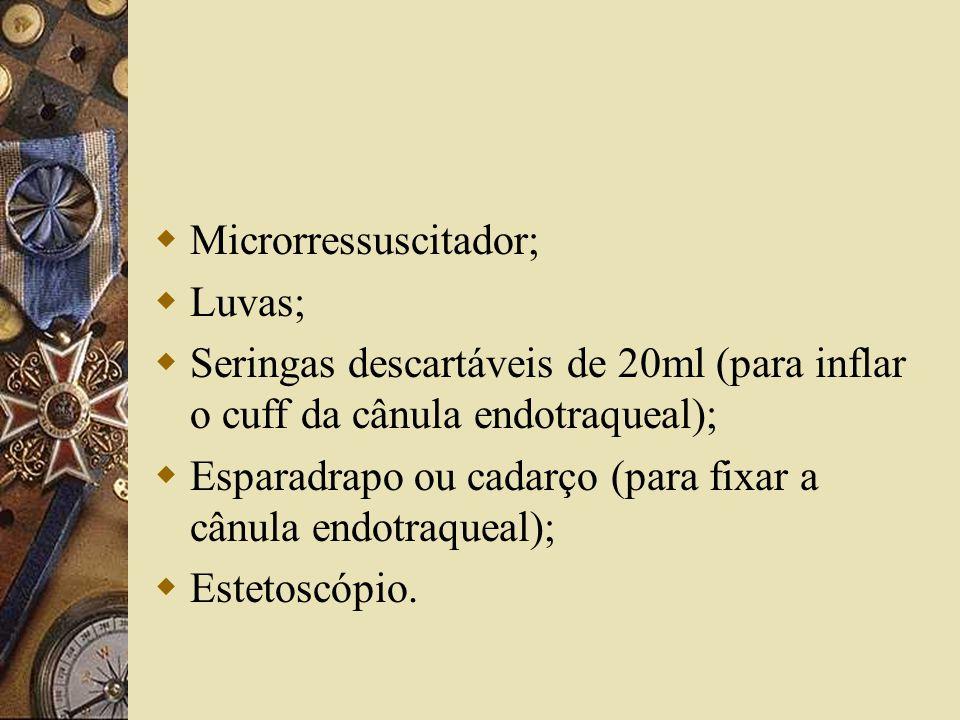  Microrressuscitador;  Luvas;  Seringas descartáveis de 20ml (para inflar o cuff da cânula endotraqueal);  Esparadrapo ou cadarço (para fixar a cânula endotraqueal);  Estetoscópio.