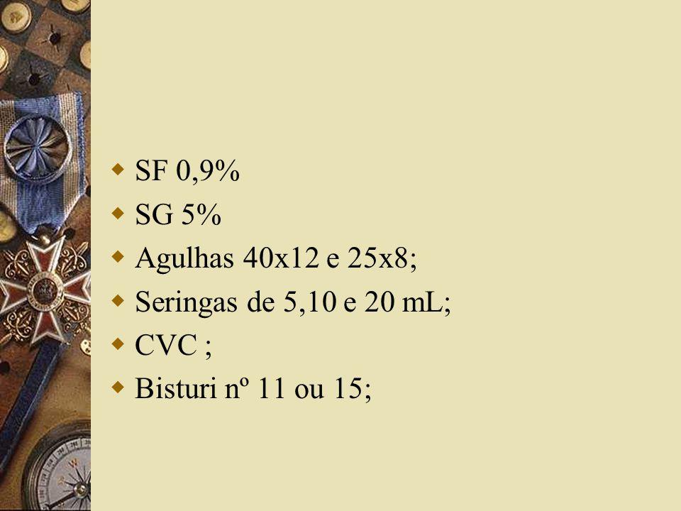  SF 0,9%  SG 5%  Agulhas 40x12 e 25x8;  Seringas de 5,10 e 20 mL;  CVC ;  Bisturi nº 11 ou 15;