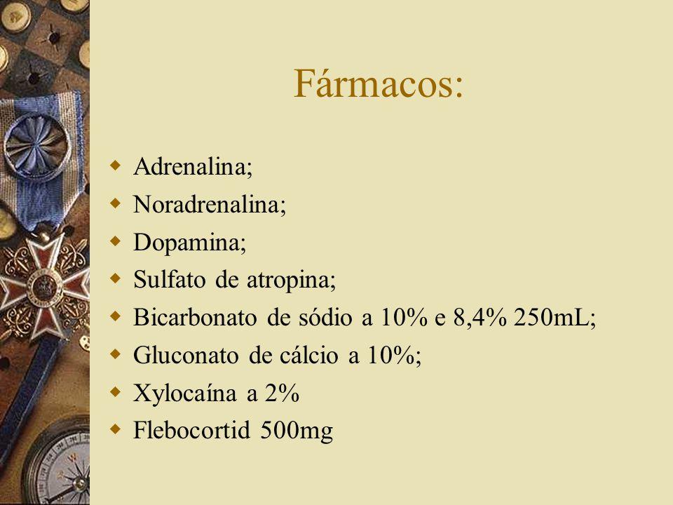 Fármacos:  Adrenalina;  Noradrenalina;  Dopamina;  Sulfato de atropina;  Bicarbonato de sódio a 10% e 8,4% 250mL;  Gluconato de cálcio a 10%;  Xylocaína a 2%  Flebocortid 500mg