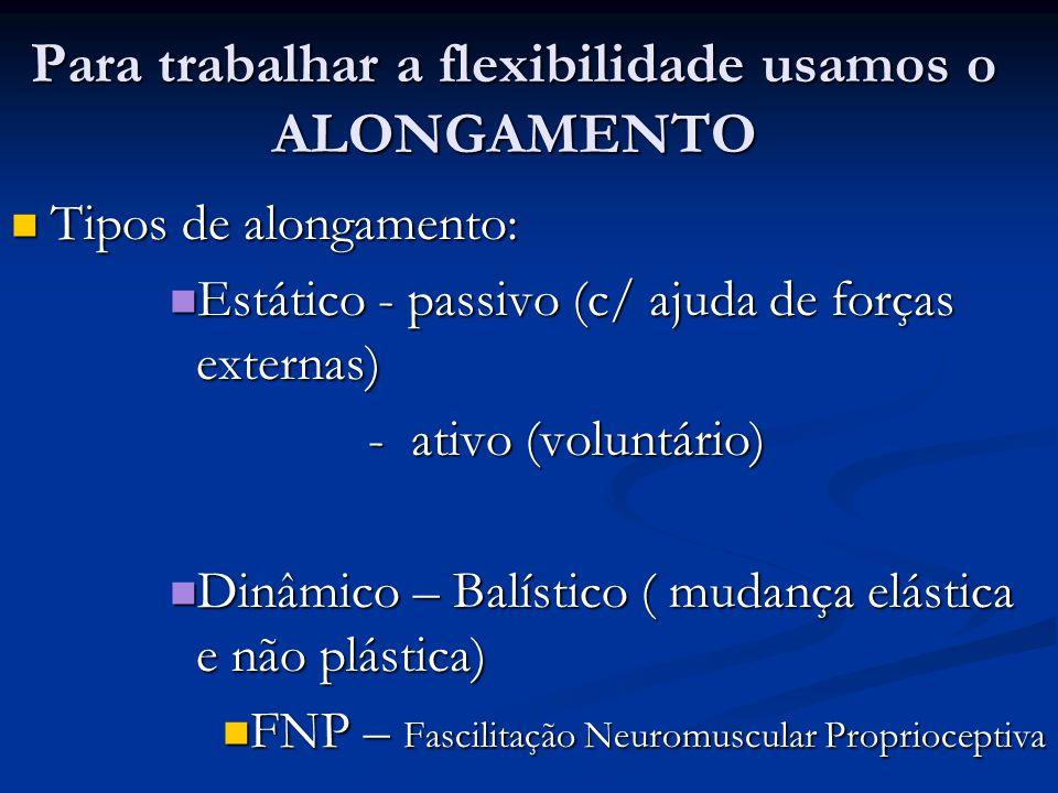 Para trabalhar a flexibilidade usamos o ALONGAMENTO Tipos de alongamento: Tipos de alongamento: Estático - passivo (c/ ajuda de forças externas) Estát
