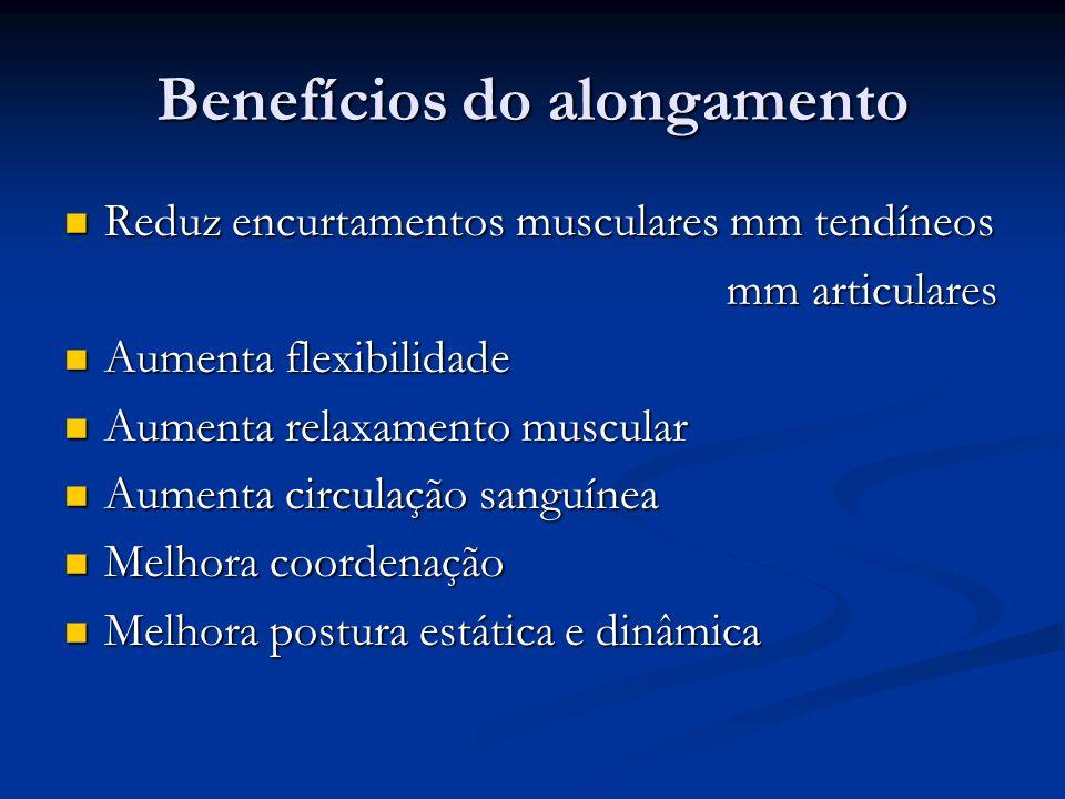 Benefícios do alongamento Reduz encurtamentos musculares mm tendíneos Reduz encurtamentos musculares mm tendíneos mm articulares mm articulares Aument