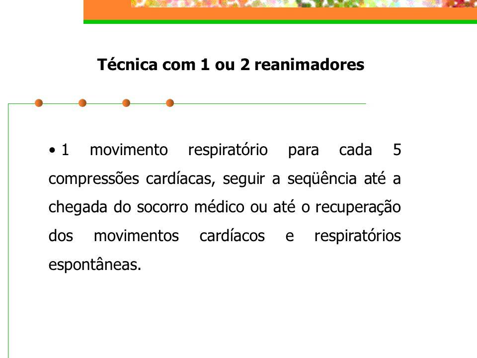 Técnica com 1 ou 2 reanimadores 1 movimento respiratório para cada 5 compressões cardíacas, seguir a seqüência até a chegada do socorro médico ou até