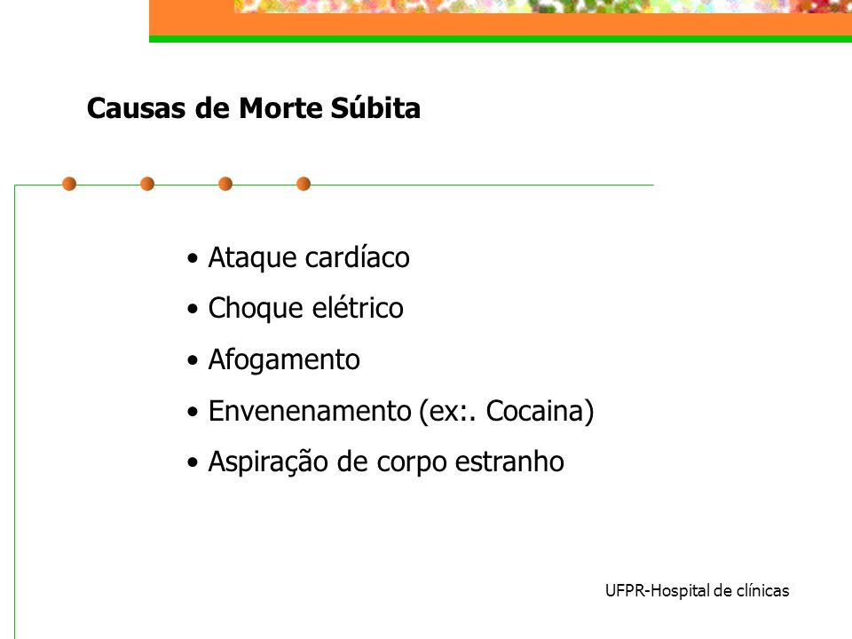 Causas de Morte Súbita UFPR-Hospital de clínicas Ataque cardíaco Choque elétrico Afogamento Envenenamento (ex:. Cocaina) Aspiração de corpo estranho