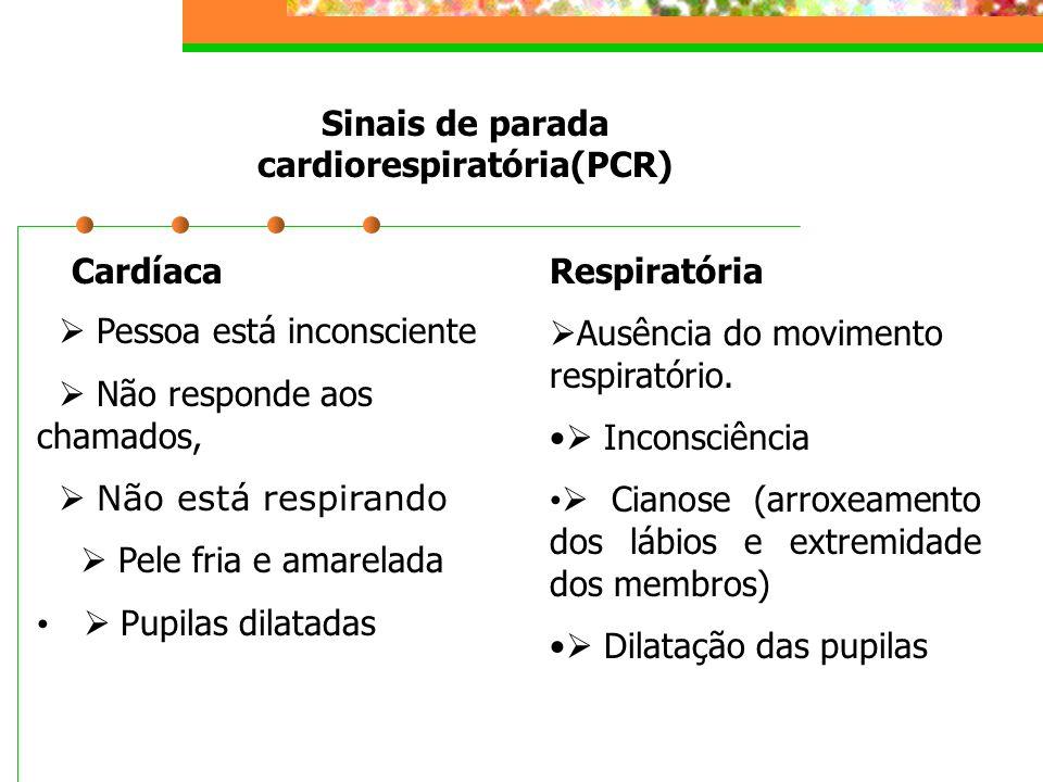 Sinais de parada cardiorespiratória(PCR) Cardíaca  Pessoa está inconsciente  Não responde aos chamados,  Não está respirando  Pele fria e amarelad