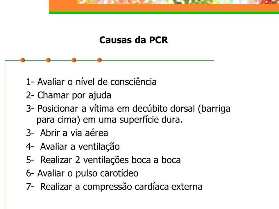 Causas da PCR 1- Avaliar o nível de consciência 2- Chamar por ajuda 3- Posicionar a vítima em decúbito dorsal (barriga para cima) em uma superfície du
